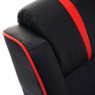 Mendler Fernsehsessel HWC-D68, HWC-Racer Relaxsessel TV-Sessel Gaming-Sessel, Kunstleder ~ schwarz/rot - 6