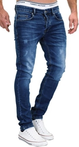 MERISH Jeans Herren Slim Fit Jeanshose Stretch Designer Hose Denim 501 (32-32, 501-1 Dunkelblau) - 1