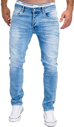 MERISH Jeans Herren Slim Fit Jeanshose Stretch Designer Hose Denim 9148-2100 (33-32, 9148 Hellblau) - 2