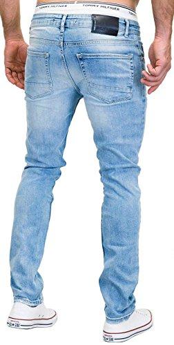 MERISH Jeans Herren Slim Fit Jeanshose Stretch Designer Hose Denim 9148-2100 (33-32, 9148 Hellblau) - 3