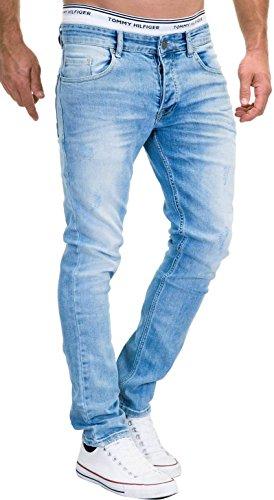 MERISH Jeans Herren Slim Fit Jeanshose Stretch Designer Hose Denim 9148-2100 (33-32, 9148 Hellblau) - 1