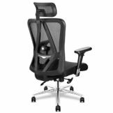 mfavour Bürostühl Ergonomischer Bürostuhl mit 3D Armlehnen, 3D Lordosenstütze Drehstuhl Computerstuhl Chefsessel, Verstellbare Kopfstütze, Höhenverstellung, bis 150 kg/330lb - 1