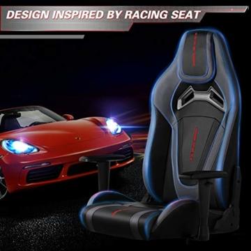 MFAVOUR Ergonomischer Gaming Stuhl für den Schreibtisch, Rückenlehne , verstellbare Armlehnen, bequeme integrierte Kopfstütze, geräuscharme Räder, 360°-drehbar, Stil für Gaming, 150 kg, grau-rot - 2