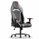 MFAVOUR Ergonomischer Gaming Stuhl für den Schreibtisch, Rückenlehne , verstellbare Armlehnen, bequeme integrierte Kopfstütze, geräuscharme Räder, 360°-drehbar, Stil für Gaming, 150 kg, grau-rot - 1