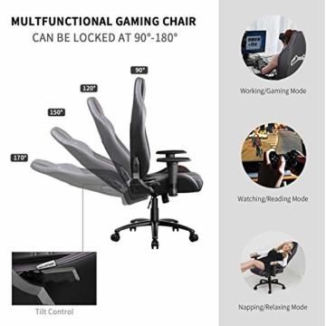 MFAVOUR Ergonomischer Gaming Stuhl für den Schreibtisch, Rückenlehne , verstellbare Armlehnen, bequeme integrierte Kopfstütze, geräuscharme Räder, 360°-drehbar, Stil für Gaming, 150 kg, grau-rot - 4