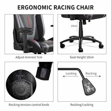 MFAVOUR Ergonomischer Gaming Stuhl für den Schreibtisch, Rückenlehne , verstellbare Armlehnen, bequeme integrierte Kopfstütze, geräuscharme Räder, 360°-drehbar, Stil für Gaming, 150 kg, grau-rot - 5