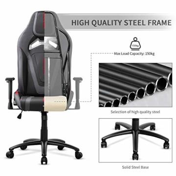 MFAVOUR Ergonomischer Gaming Stuhl für den Schreibtisch, Rückenlehne , verstellbare Armlehnen, bequeme integrierte Kopfstütze, geräuscharme Räder, 360°-drehbar, Stil für Gaming, 150 kg, grau-rot - 6