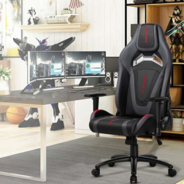MFAVOUR Ergonomischer Gaming Stuhl für den Schreibtisch, Rückenlehne , verstellbare Armlehnen, bequeme integrierte Kopfstütze, geräuscharme Räder, 360°-drehbar, Stil für Gaming, 150 kg, grau-rot - 7