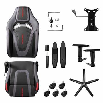 MFAVOUR Ergonomischer Gaming Stuhl für den Schreibtisch, Rückenlehne , verstellbare Armlehnen, bequeme integrierte Kopfstütze, geräuscharme Räder, 360°-drehbar, Stil für Gaming, 150 kg, grau-rot - 8