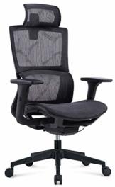 MIIGA ergonomischer Profi Bürostuhl Schreibtischstuhl für das Homeoffice, Chefsessel, ergonomisch, verstellbare Kopfstütze, Sitzhöhe und Rückenlehne, Belastbarkeit bis 150 kg MG233A (Schwarz) - 1