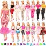 Miunana Lot 15 = 5 Fashion Kleider mit 10 Paar Schuhen Partymoden Kleidung für 11,5 Zoll Mädchen Puppen - 1