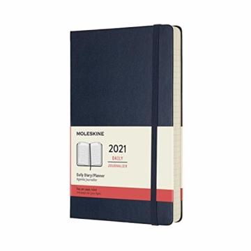 Moleskine 12 Monate Tagesplaner 2021, Tageskalender 2021, fester Einband und elasticher Verschluss, Format Groβ 13 x 21 cm, 400 Seiten Saphirblau Large - 1