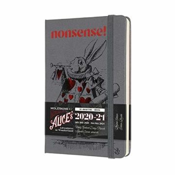 """Moleskine - 18-Monats-Kalender/Planer 2020/2021, """"Alice im Wunderland"""" Terminkalender mit Wochenübersicht in limitierter Auflage, Weißer Hase Design, Format Pocket/A6 9 x 14 cm, 208 Seiten - 1"""
