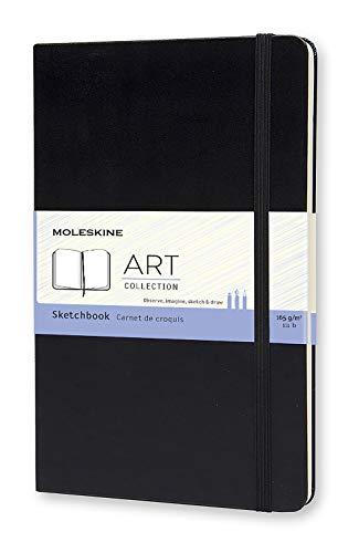 Moleskine Art Collection Skizzen-/ Zeichenbuch (mit Hardcover und elastischem Verschluss, Papier geeignet für Stifte, Bleistifte und Pastelle, Groß 13 x 21 cm, 104 Seiten) schwarz - 1