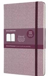 Moleskine Blend Kollektion Notizbuch, Seiten mit Punktraster, mit Stoffhülle und elastischem Verschluss, Größe 13 x 21 cm, Fischgrätenmuster, Farbe Blau, 240 Seiten - 1