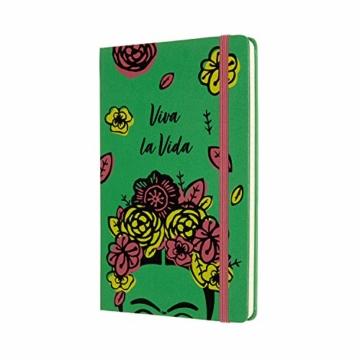 Moleskine Limited Edition Frida Kahlo Notizbuch, Notizblock mit linierten Seiten, Hardcover und elastischem Verschluss, Großes A5-Format 13 x 21 cm, Farbe Grün, 240 Seiten - 2