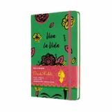 Moleskine Limited Edition Frida Kahlo Notizbuch, Notizblock mit linierten Seiten, Hardcover und elastischem Verschluss, Großes A5-Format 13 x 21 cm, Farbe Grün, 240 Seiten - 1