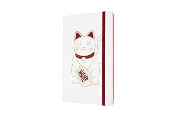 Moleskine Limited Edition Maneki Neko Notizbuch, liniertes Notizbuch mit japanischer Katze, Hardcover, Großes A5-Format 13 x 21 cm, Farbe Weiß, 240 Seiten - 2