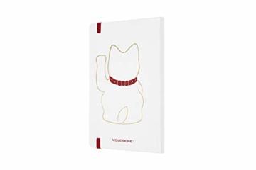 Moleskine Limited Edition Maneki Neko Notizbuch, liniertes Notizbuch mit japanischer Katze, Hardcover, Großes A5-Format 13 x 21 cm, Farbe Weiß, 240 Seiten - 5