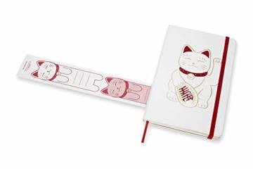 Moleskine Limited Edition Maneki Neko Notizbuch, liniertes Notizbuch mit japanischer Katze, Hardcover, Großes A5-Format 13 x 21 cm, Farbe Weiß, 240 Seiten - 6