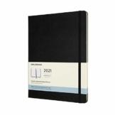 Moleskine Monatskalender 2021, 12 Monate Monatskalender, Notizbuch mit festem Einband, Format XL 19 x 25 cm, Farbe schwarz, 128 Seiten - 1