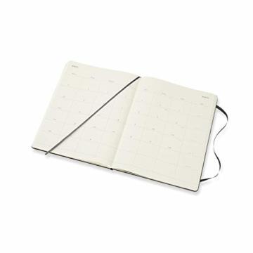Moleskine Monatskalender 2021, 12 Monate Monatskalender, Notizbuch mit festem Einband, Format XL 19 x 25 cm, Farbe schwarz, 128 Seiten - 4