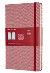 Moleskine Notizbuch Blend Kollektion (Liniertes Notizbuch mit Stoff Hardcover und elastischem Verschluss, Großformat 13 x 21 cm) 240 Seiten, rot - 1