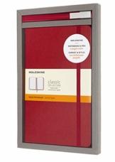 Moleskine - Schreibset mit Notizbuch und Tintenroller Classic Plus (Klassisches Notizbuch mit Linierten Seiten, Hardcover, Großformat 13 x 21 cm, Farbe Scharlach Rot, 240 Seiten - Tinte Nachfüllbar) - 1