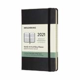 Moleskine Wochenkalender 2021, 12 Monate Wochenplaner, vertikal, fester Einband, Format Pocket 9 x 14 cm, Farbe schwarz, 144 Seiten - 1