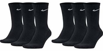 Nike 6 Paar Herren Damen Socken SX4508 weiß oder schwarz oder weiß grau schwarz, Farbe:Schwarz, Sockengröße:38-42 - 1