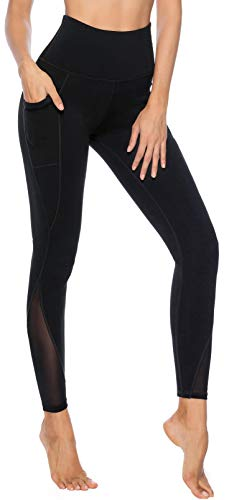 Persit Yoga Leggings Damen, Sporthose Yogahose Sport Leggins Tights für Damen, 38(M), Schwarz - 4