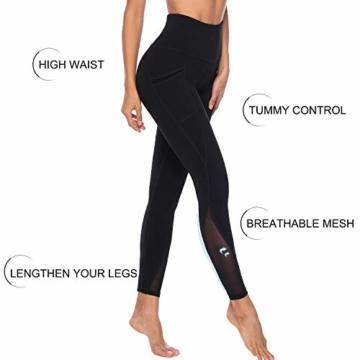 Persit Yoga Leggings Damen, Sporthose Yogahose Sport Leggins Tights für Damen, 38(M), Schwarz - 5