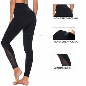 Persit Yoga Leggings Damen, Sporthose Yogahose Sport Leggins Tights für Damen, 38(M), Schwarz - 6
