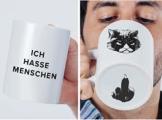 """Premium """"Ich hasse Menschen"""" Tasse mit Katzen-Motiv, bruchsicher verpackt ✔ witzige weiße Kaffee Katzen-Tasse, lustiges Geschenk für Kollegen, Morgenmuffel, Teenager - 1"""