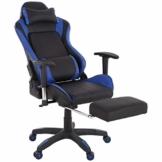 Raburg Gaming-Stuhl DRIFT HAWK – XXL Bürostuhl mit Relax-Fußstütze aus Soft-Touch Kunstleder in SCHWARZ/BLAU, ergonomisch geformt + 180° Easy-Chill-Funktion, 360° drehbar - Tragkraft 150 kg - 1