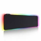 REAWUL RGB Gaming Mauspad Groß - 7 LED Farben 14 Beleuchtungs-Modi Gaming Mouse Mat, Rutschfester Gummibasis und Wasserdichter Oberfläche Tastatur Mouse Pad - 800 x 300 x 4 mm - 1