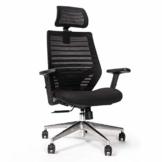 RIGHT TECHNOLOGY Ergo PRO Schreibtischstuhl, Drehstuhl hat Verstellbarer Lordosenstütze, Kopfstütze und Armlehne, Höhenverstellung und Wippfunktion, Rückenschonend, Bürostuhl bis 150kg/330LB - 1