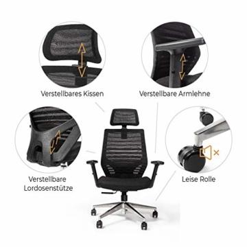 RIGHT TECHNOLOGY Ergo PRO Schreibtischstuhl, Drehstuhl hat Verstellbarer Lordosenstütze, Kopfstütze und Armlehne, Höhenverstellung und Wippfunktion, Rückenschonend, Bürostuhl bis 150kg/330LB - 3