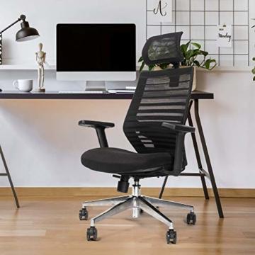 RIGHT TECHNOLOGY Ergo PRO Schreibtischstuhl, Drehstuhl hat Verstellbarer Lordosenstütze, Kopfstütze und Armlehne, Höhenverstellung und Wippfunktion, Rückenschonend, Bürostuhl bis 150kg/330LB - 7