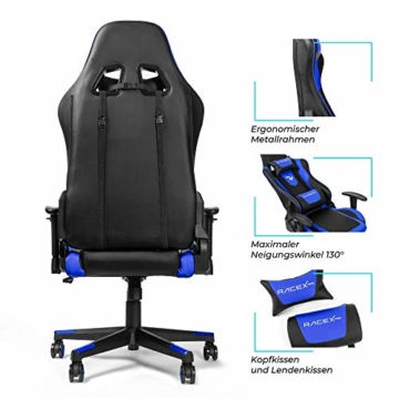 RIGHT TECHNOLOGY Gaming Stuhl Bürostuhl Gamer Ergonomischer Stuhl Einstellbare Armlehne Einteiliger Stahlrahmen Einstellbarer Neigungswinkel Blau - 2