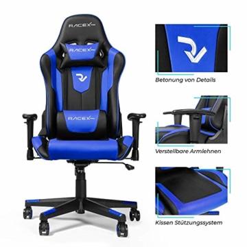 RIGHT TECHNOLOGY Gaming Stuhl Bürostuhl Gamer Ergonomischer Stuhl Einstellbare Armlehne Einteiliger Stahlrahmen Einstellbarer Neigungswinkel Blau - 3