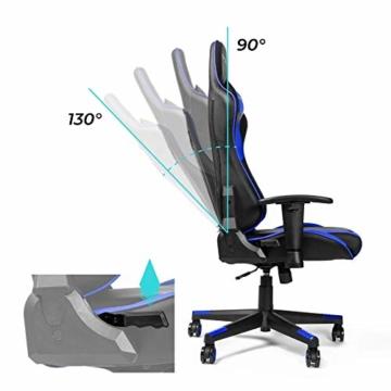 RIGHT TECHNOLOGY Gaming Stuhl Bürostuhl Gamer Ergonomischer Stuhl Einstellbare Armlehne Einteiliger Stahlrahmen Einstellbarer Neigungswinkel Blau - 5