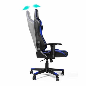 RIGHT TECHNOLOGY Gaming Stuhl Bürostuhl Gamer Ergonomischer Stuhl Einstellbare Armlehne Einteiliger Stahlrahmen Einstellbarer Neigungswinkel Blau - 6