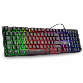 Rii Gaming Tastatur PC, PS4 Tastatur USB, Regenbogen Beleuchtete Tastatur LED, Gaming Keyboard ideal für Gamer|Büro(Deutsches Layout) - 1