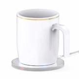 Rouku Kaffeetassenwärmer Drahtloses Ladegerät Heizungswärmer Set Elektrisch angetriebene Tassenwärmer Heizung (weiß) - 1