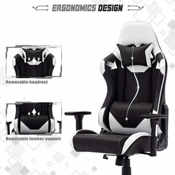 SHA XiaZhi Racing Style Gaming-Stuhl, PU-Leder, hohe Rückenlehne, Bürostuhl, ergonomisches Design mit verstellbarer Armlehne und Lendenwirbelstütze - 2