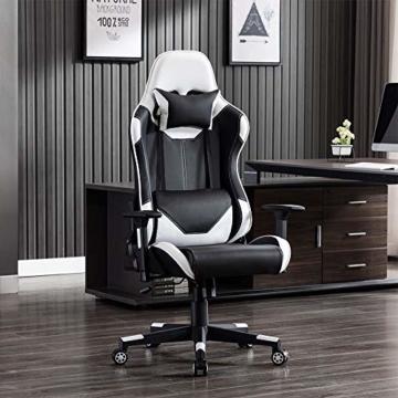 SHA XiaZhi Racing Style Gaming-Stuhl, PU-Leder, hohe Rückenlehne, Bürostuhl, ergonomisches Design mit verstellbarer Armlehne und Lendenwirbelstütze - 3