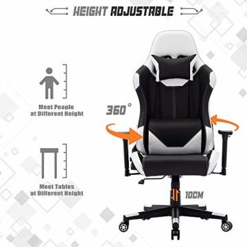 SHA XiaZhi Racing Style Gaming-Stuhl, PU-Leder, hohe Rückenlehne, Bürostuhl, ergonomisches Design mit verstellbarer Armlehne und Lendenwirbelstütze - 4