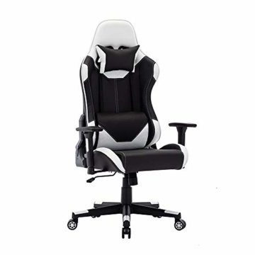 SHA XiaZhi Racing Style Gaming-Stuhl, PU-Leder, hohe Rückenlehne, Bürostuhl, ergonomisches Design mit verstellbarer Armlehne und Lendenwirbelstütze - 1