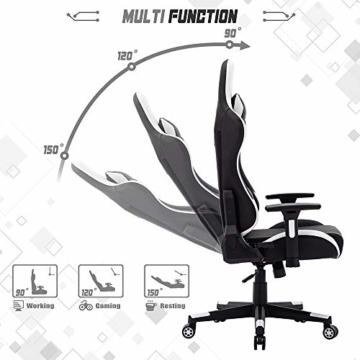 SHA XiaZhi Racing Style Gaming-Stuhl, PU-Leder, hohe Rückenlehne, Bürostuhl, ergonomisches Design mit verstellbarer Armlehne und Lendenwirbelstütze - 5